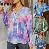 Women's Casual Pullover Shirt Ladies Tie Dye Long Sleeve Tee Blouse Loose Tops
