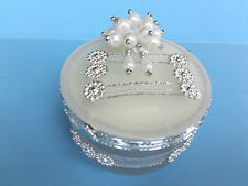 Vintage Looking Jewelry Display Box Case-Round Opaque Silver Embellishments