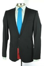 NWT $895 HUGO BOSS RED LABEL Amaro Heise Black Wool 2Btn Flat Front Suit 50 40 L