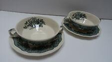 2 Suppen Tassen D 12,5 cm mit Unterteller Masons Ascot grün England Ironstone 1