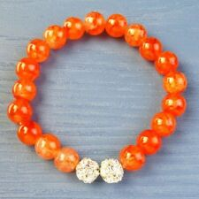 10mm Orange Dragon Veins Agate Round Ball Stretchy bracelet 7.5 inch D85664