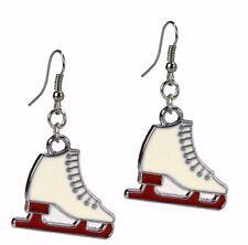 Ice Skates Skating Skater Silver Fashion Dangle Enamel Earrings Grace Of NewYork