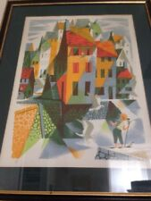 Colorful Abstract Cityscape Illustration Seagulls Lauder Print Lithograph