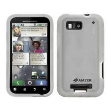NEW AMZER TRANSPARENT WHITE SILICONE SKIN JELLY CASE FOR MOTOROLA DEFY MB525