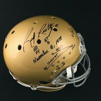 Rudy Ruettiger Notre Dame Signed Sack Play Full Size Gold Replica Helmet JSA COA