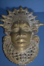 Large Mid 20th Century African Benin Tribal Bronze Mask,Pierced Decoration,c1950