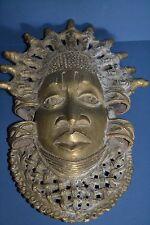 Large Mid 20th Century African Benin Tribal Bronze Mask,Pierced Decoration,c1950