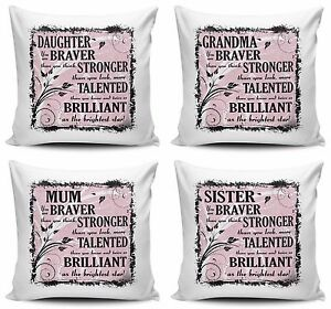 You Are Braver Than You Think, Stronger Than You Look Cushion Cover - Female