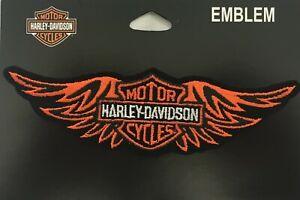 "Harley Davidson Orange Wing B&S 5 3/4"" x 1 3/4"" Motorcycle Biker Vest Emb339812"