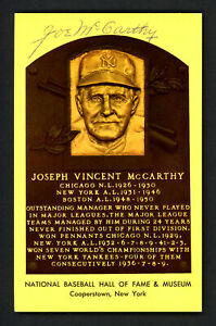 Joe McCarthy Autographed Signed HOF Plaque Postcard New York Yankees SKU #158181