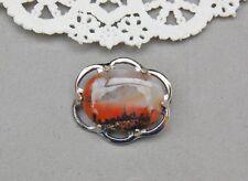 "Genuine Picture Petrified Wood Pin Brooch Silver Tone 1 1/4"" Arizona Cabochon"