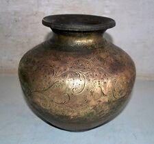 18th C Ancient Brass Rare Hindu Lord Dancing Garuda Bird Figured Holy Water Pot