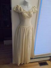 1940-50s vintage Long Ivory Faille Dress formal Tucked Bodice Deep Sequin Collar