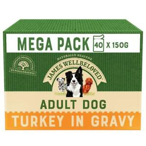 40 x 150g James Wellbeloved Adult Natural Dog Food Pouches Turkey &Rice in Gravy