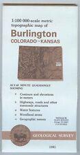 USGS Topographic Map BURLINGTON - Colorado Kansas - 1981 - 100K -