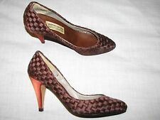 Andrea Carrano Shoes Vintage Brown Woven 7.5 M B Ladies High Heel Womens Satin