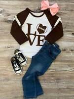 Toddler, Girls Football Love Raglan T-Shirt, Boutique Style Tee 2T 3T 4T 5 6 7 8