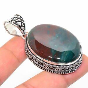 "Bloodstone Gemstone Ethnic Handmade Jewelry Pendant 2.17"" RL-8585"