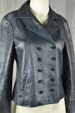 Michael Kors Women's 8 Double Breasted Leather Jacket Blue