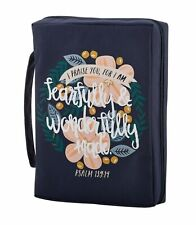 Bible Cover Wonderfully Made Psalm 139:14 NEW Sturdy Canvas Handle Large
