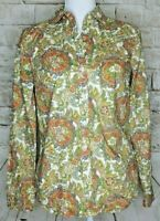 Talbots Womens Button Down Shirt Long Sleeve Blouse Paisley Red Green Yellow 2