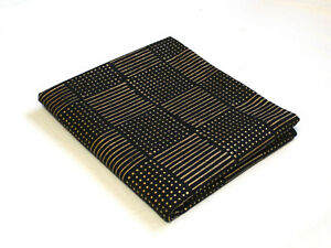 2.5 YD Black Gold Striped Hand Block Print Fabric Dress Material Cotton Fabric