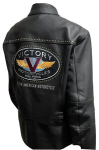 WOMEN'S  PURE VICTORY LEATHER MOTORCYCLE JACKET SIZE L W/ WINGED LOGO -NWOT