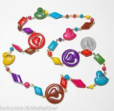 Fun Whimsical Necklace, CutOut Heart & Geometric Shapes, Bright Multi-Color 28""