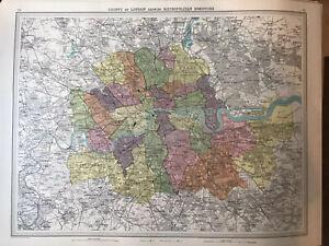 """County of London showing Metropolitan Boroughs"" 1939 Vintage Map 61X46cm"