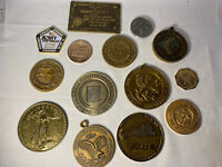 Lot Of 14 Medals Coin Plaque Military Historical Justice Dept Etc