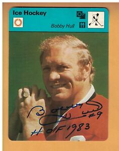 Bobby Hull AUTOGRAPHED 1977 Sportscaster 4.75 x 6.25 Hockey card CHICAGO