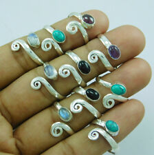 10 pcs Adjustable Toe Ring Lot-192 Amazing Mix Gemstone 925 Silver Overlay