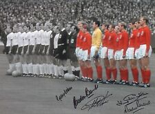 """ENGLAND-1966-16x12"""" PHOTO-SIGNED by 5-HURST-BANKS-PETERS-COHEN-CHARLTON-AFTAL"""