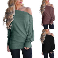 Women Off Shoulder Loose Pullover Sweater Batwing Sleeve Knit Jumper Top Blouse