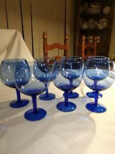 Set Of 6 Vintage Blue Wine Glasses