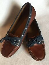 New Sebago Bala Brown Oiled Waxy Leather Loafers Navy Suede sz 6.5 US/ 4UK/37EU