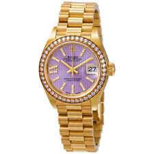 Rolex Lady-Datejust 28 Liliac Dial 18K Yellow Gold President Automatic Ladies