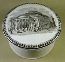 Victorian Pot Lid & Jar -  Brown Transfer - Royal Opera House , London 1850's