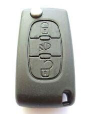 Replacement 3 button flip key fob case for Citroen C4 C5 C6 C8 remote light btn
