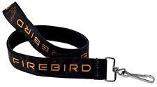 "Lanyard 1"" Key Chain Ring Neck Card ID Pontiac Firebird Logo Black Grays Golds"