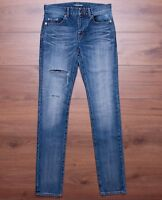 SAINT LAURENT PARIS 950$ Low Waisted Embroidered Skinny Jeans In Medium Blue