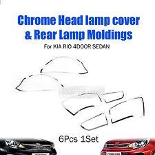 Chrome Headlight Taillight Lamp Cover Molding for KIA 2012-2016 Rio Sedan