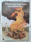 "Vintage Smokey Bear ""Never Turn Back"" Poster 1982 Forest Debris Fire Prevention"