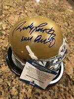 Rudy Ruettiger Signed & Never Quit Notre Dame Mini Helmet BECKETT COA