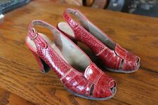1940s red alligator embossed leather slingback shoes Excellent 6 M