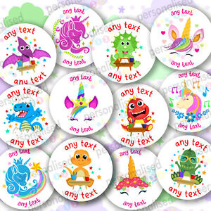 Personalised Birthday Stickers For Kids Girls Boys Dino Unicorn Labels Dinosaur