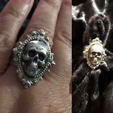 Silver-tone Adjustable Skull Ring