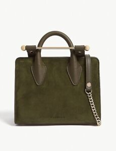 Strathberry Nano Tote In Dark Green Suede, Made In Spain