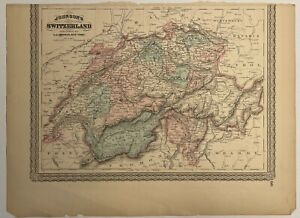 Antique Johnson's Map of Switzerland 1867