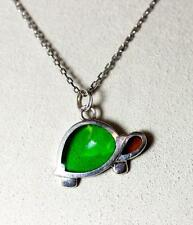 """Pretty Sterling Silver Green & Yellow Glass Turtle Pendant Necklace 16"""" - 6918"""